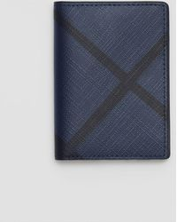 Burberry - London Check And Leather Folding Card Case Navy/black - Lyst