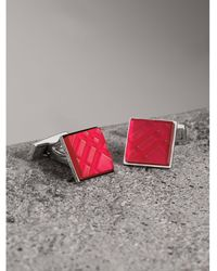 Burberry - Check-engraved Square Cufflinks - Lyst