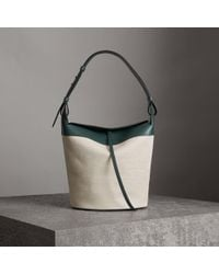 Burberry - The Large Cotton Linen And Leather Bucket Bag - Lyst 4624eab323e17