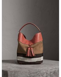 Burberry   The Medium Ashby In Canvas Check And Leather Cinnamon Red   Lyst