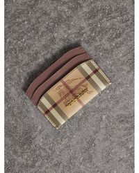 Burberry | Haymarket Check And Leather Card Case In Light Elderberry | | Lyst