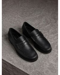 Burberry - Leather Penny Loafers - Lyst