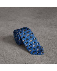 Burberry - Slim Cut Taxi Print Silk Tie - Lyst