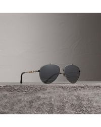 Burberry - Check Detail Pilot Sunglasses In Black | - Lyst