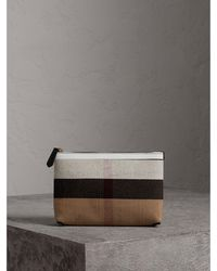 Burberry - Medium Canvas Check And Leather Zip Pouch - Lyst