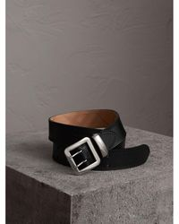 Burberry - Topstitch Detail Leather Belt - Lyst