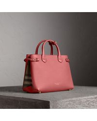 Burberry - The Medium Banner In Leather And House Check Mauve Pink - Lyst 0124f7789feab