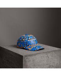 Burberry - Graffiti Print Vintage Check Baseball Cap - Lyst