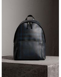 Burberry - Leather Trim London Check Backpack Navy/black - Lyst