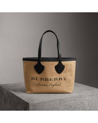 Burberry - The Medium Giant Tote In Graphic Print Jute - Lyst