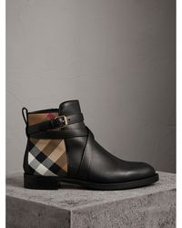 Burberry | Strap Detail House Check And Leather Ankle Boots Black | Lyst