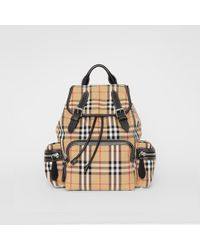 Burberry - The Medium Rucksack In Vintage Check Cotton Canvas - Lyst