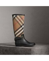Burberry - Belt Detail Check And Rubber Rain Boots House Check/black - Lyst