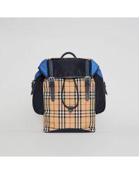 Burberry - Lederrucksack im Vintage Check- und Colour-Blocking-Design - Lyst