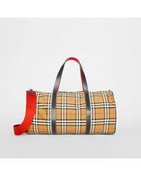d0edf534b9af Lyst - Burberry Vintage Haymarket Boston Side Luggage Weekender Bag ...