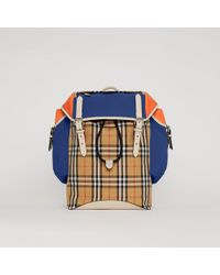 Burberry - Colour Block Vintage Check And Leather Backpack - Lyst