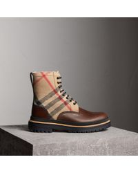 76fb34da6ce Burberry - Shearling-lined Leather And Check Boots - Lyst