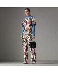 Burberry - Graffiti Archive Scarf Print Cotton Jumpsuit - Lyst