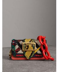 Buckle Patchwork Leather Shoulder Bag.  2565. Selfridges · Burberry - The  Patchwork In Exotics And Fringed Cotton - Lyst 3e1625da7b9c2
