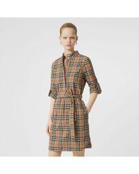Burberry - Robe chemise ceinturée en coton Vintage check - Lyst