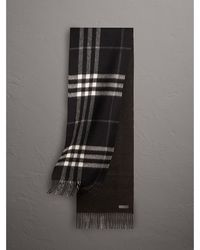 Burberry - Reversible Metallic Check Cashmere Scarf Black - Lyst