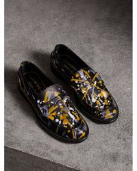 Burberry - Splash Print Leather Penny Loafers - Lyst
