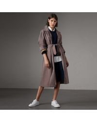 Burberry - The Brighton – Extra-long Car Coat In Lilac Grey - Women | - Lyst
