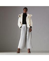 Burberry - Stripe Detail Wide-leg Cotton Jersey Sweatpants - Lyst