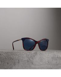 Burberry - Marble-effect Square Frame Sunglasses - Lyst
