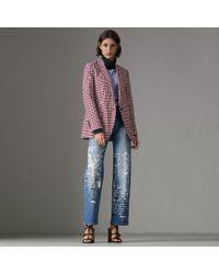 Burberry - Straight Fit Postcard Print Stretch Denim Jeans - Lyst