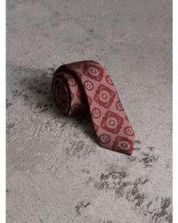 Burberry - Slim Cut Tiled Floral Silk Jacquard Tie - Lyst