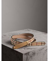 Burberry - Plaque Buckle Haymarket Check And Leather Belt - Lyst