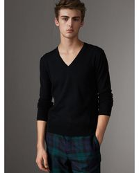 Burberry - Check Detail Merino Wool V-neck Sweater - Lyst