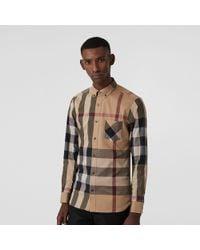 Burberry - Button-down Collar Check Stretch Cotton Blend Shirt Camel - Lyst