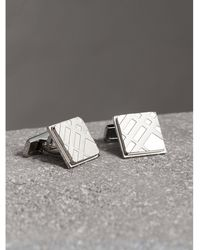 Burberry - Check-engraved Square Cufflinks Silver - Lyst