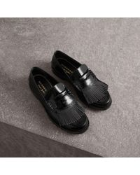 Burberry - Kiltie Fringe Patent Leather Loafers - Lyst