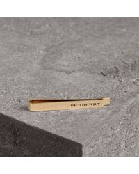 Burberry - Engraved Bronze Tie Bar - Lyst