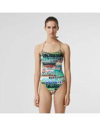 Burberry - Tag Print Vintage Check Halterneck Swimsuit - Lyst