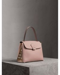 Burberry - Medium Grainy Leather And House Check Tote Bag - Lyst 424e3fb37518f