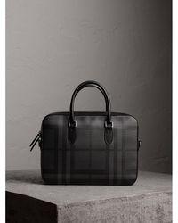 Burberry - Medium Leather Trim London Check Briefcase - Lyst