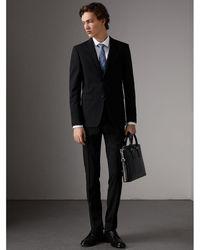 Burberry - Slim Fit Wool Part-canvas Suit Black - Lyst