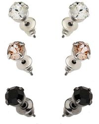 Burton - 3 Pack Rhinestone Stud Earrings - Lyst