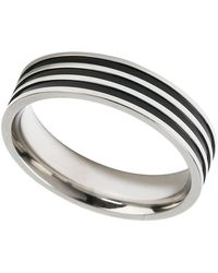 Burton - Silver Striped Ring - Lyst