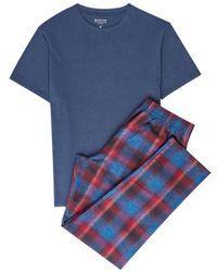 Burton - Blue Cotton Check Pyjama Set - Lyst