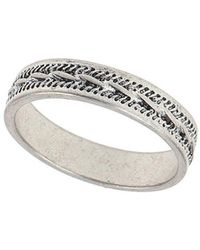 Burton - Silver Etched Ring - Lyst