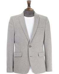 Burton - Light Grey Essential Pique Jersey Blazer - Lyst