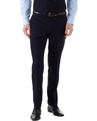 Burton Navy Slim Fit Textured Suit Trousers - Blue