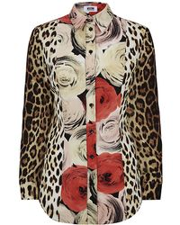 Moschino Cheap & Chic Leopard Roses Silk Shirt - Lyst