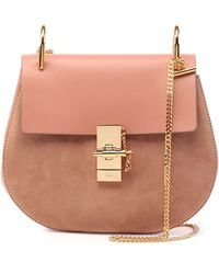 chleo bag - Chlo�� Pink Leather And Suede Mini Drew Saddle Bag in Pink | Lyst