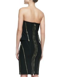 Hervé Léger Xandra Bandage Knit Strapless Zipper Dress - Lyst